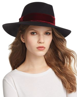 Amelia Velet-Trim Fedora in Black/Berry Velvet