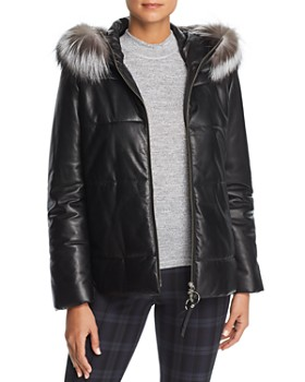 Maximilian Furs - Fox Fur Trim Leather Jacket - 100% Exclusive