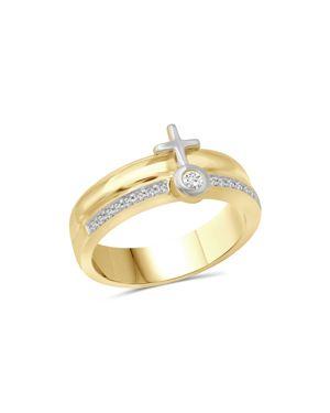 Love and Pride 14K White Gold & 14K Yellow Gold Diamond Female Insignia Combination Ring