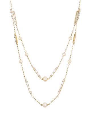 "Josephine Layered Cultured Freshwater Pearl Necklace, 16"" by Nadri"