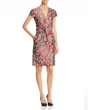 PAULE KA - Tie-Detail Floral Jacquard Dress