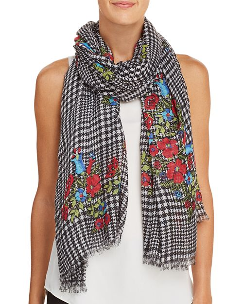 AQUA - Glen Plaid Floral Print Scarf - 100% Exclusive
