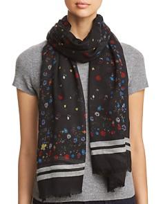 AQUA - Border-Stripe Floral Wool Scarf - 100% Exclusive