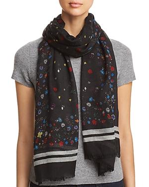 Aqua Border-Stripe Floral Wool Scarf - 100% Exclusive