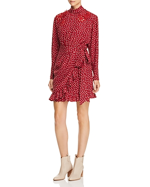 Rebecca Taylor Silk Ruffle-Trim Heart-Print Dress