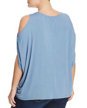 Cupio Plus - V-Neck Cold-Shoulder Top