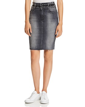 Hudson - Helena Triple-Waistband Denim Skirt in Worn Black