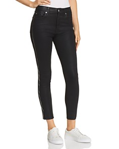 7 For All Mankind - Side Zip High Waist Skinny Jeans in B(air) Black with Velvet