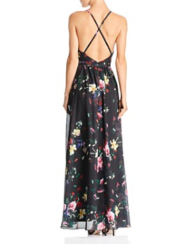 Laundry by Shelli Segal - Cross-Strap Floral Gown - 100% Exclusive
