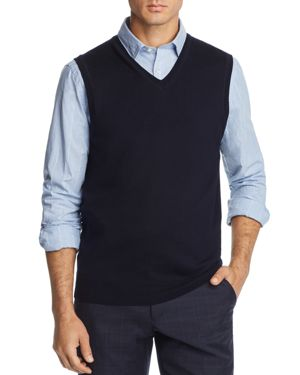 THE MEN'S STORE AT BLOOMINGDALE'S The Men'S Store At Bloomingdale'S V-Neck Merino Wool Vest - 100% Exclusive in Navy