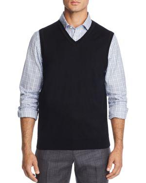 THE MEN'S STORE AT BLOOMINGDALE'S The Men'S Store At Bloomingdale'S V-Neck Merino Wool Vest - 100% Exclusive in Black