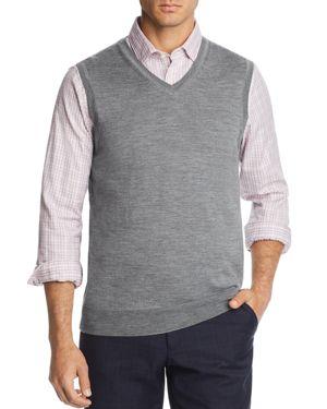 THE MEN'S STORE AT BLOOMINGDALE'S The Men'S Store At Bloomingdale'S V-Neck Merino Wool Vest - 100% Exclusive in Medium Gray