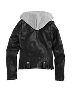 BLANKNYC - Girls' Moto Jacket With Knit Hood - Big Kid