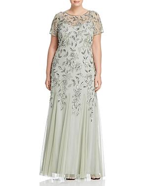 Vintage Dresses Australia- 1920s, 30s, 40s, 50s, 60s Styles Adrianna Papell Plus Floral Embellished Godet Gown AUD 250.31 AT vintagedancer.com