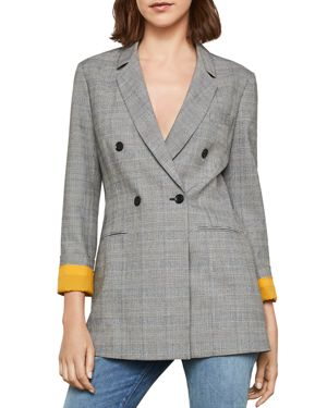 GLEN PLAID DOUBLE-BREASTED BLAZER