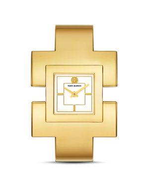 T Bangle Watch, Gold-Tone/Cream, 25 Mm