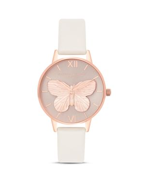 OLIVIA BURTON 3D Butterfly Leather Strap Watch, 30Mm in Blush/ Rose Gold