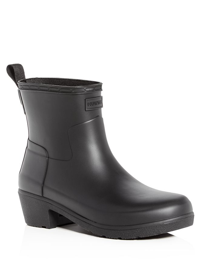 Hunter - Women's Refined Matte Block-Heel Rain Booties