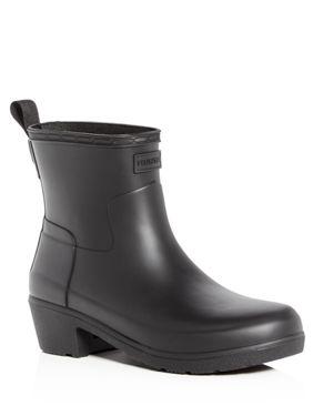 Women'S Refined Matte Block-Heel Rain Booties in Black