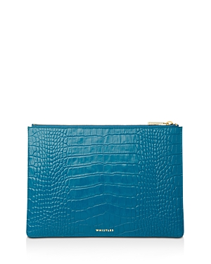 Whistles Medium Croc-Embossed Leather Clutch