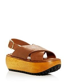 Marni - Women's Leather Crisscross Slingback Platform Sandals