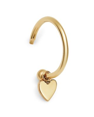 14 K Yellow Gold Tiny Heart Charm Huggie Hoop Earring by Zoë Chicco