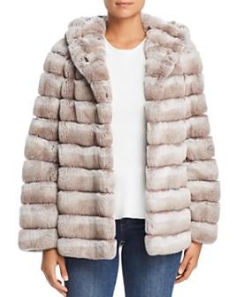 Maximilian Furs - Hooded Rabbit Fur Coat - 100% Exclusive