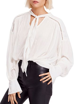 2e67ad98084c5c Free People Wishful Moments Tie-Neck Blouse   Bloomingdale's