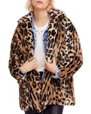 Kate Leopard Print Faux Fur Coat, Brown Combo