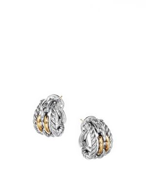 DAVID YURMAN WELLESLEY LINK HOOP EARRINGS IN STERLING SILVER WITH 18K YELLOW GOLD