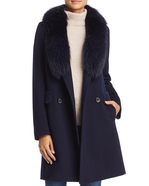 Maximilian Furs - Fleurette Fur Trim Double-Breasted Front Wool Coat