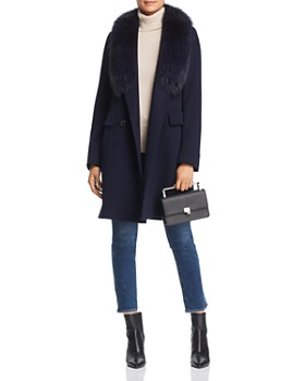 Maximilian Furs - Fleurette Fur Trim Double-Breasted Front Wool Coat