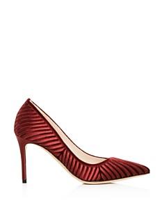 Giorgio Armani - Women's Decolette Velvet & Satin Stripe Pointed Toe Pumps