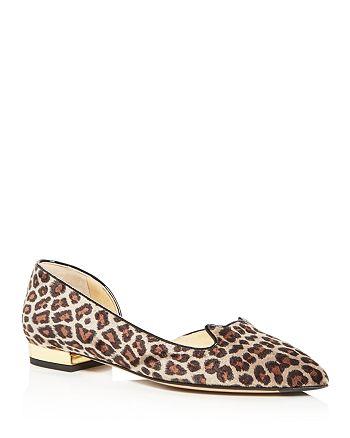 Charlotte Olympia - Women's Leopard Print Velvet Flats