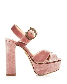 Charlotte Olympia - Women's Catbuck Velvet High-Heel Platform Sandals