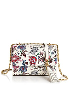 Tory Burch - Fleming Small Convertible Floral Leather Shoulder Bag