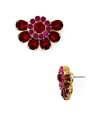 Kate Spade New York Gold-Tone Crystal & Imitation Pearl Cluster Stud Earrings in Red Multi