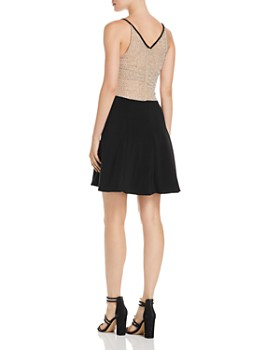 Avery G - Beaded Mesh-Back Fit-and-Flare Dress