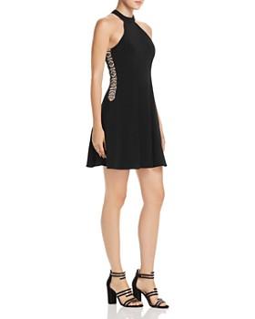 Avery G - Embellished Mock Neck Mini Dress