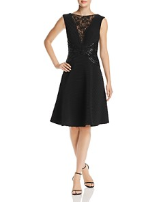 Tadashi Shoji - Lace & Sequined Pintuck Fit-and-Flare Dress