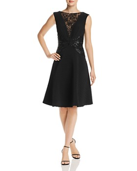 b42723e5625e Tadashi Shoji - Lace   Sequined Pintuck Fit-and-Flare Dress ...