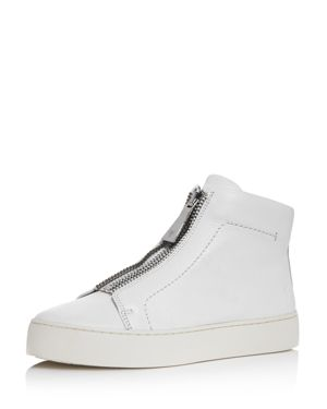 Women'S Lena Zip Up Leather High Top Sneakers in White Leather