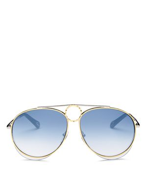 WOMEN'S ROMIE MIRRORED AVIATOR SUNGLASSES, 61MM
