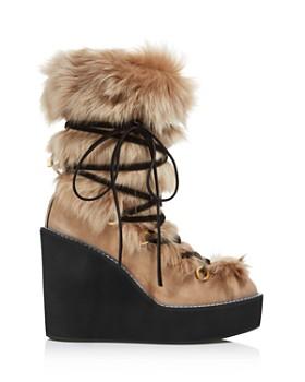 Stuart Weitzman - Women's Nikita Round Toe Suede & Fur Wedge Boots