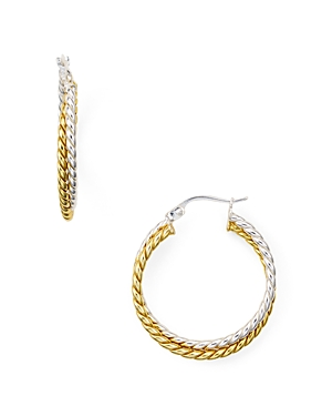 Aqua Double Textured Hoop Earrings in 18K Gold-Plated Sterling Silver and Sterling Silver - 100% Exc