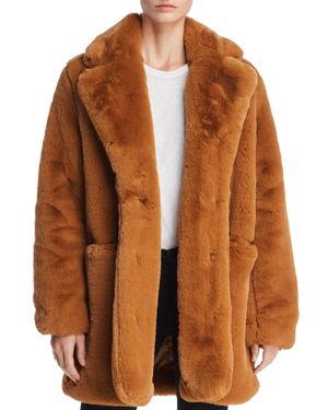 APPARIS Sophie Faux Fur Coat in Chestnut
