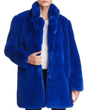 APPARIS Sophie Faux Fur Jacket in Cobalt