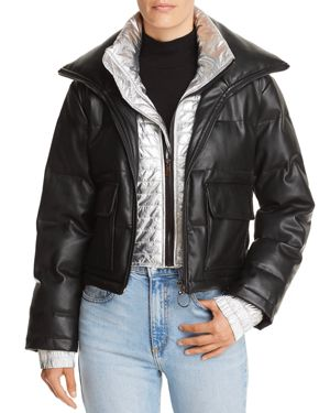 SUNSET & SPRING Sunset + Spring Metallic-Inset Leather Puffer Jacket - 100% Exclusive in Black/Silver