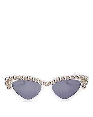 MOSCHINO 59Mm Studded Cat Eye Polarized Sunglasses - White