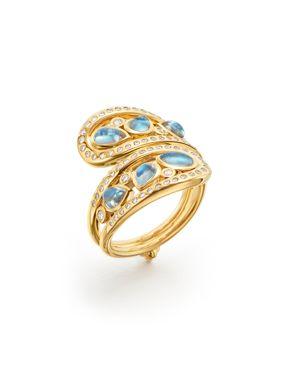 18K Yellow Gold Blue Moonstone Arabesque Ring in White/Gold
